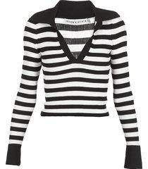 alice + olivia striped stretch sweater