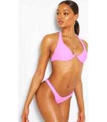 neon underwire plunge front bikini top, pink