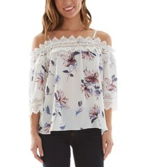 bcx juniors' floral-print crochet-trim cold-shoulder top