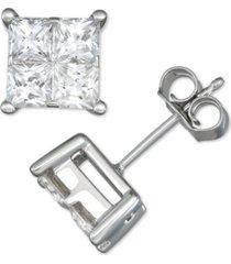 diamond seamless cluster princess stud earrings (2 ct. t.w.) in 14k white gold