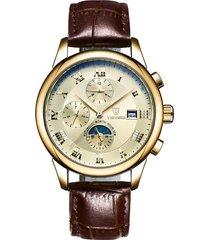 reloj mecánico reloj automático de seis puntas-dorado