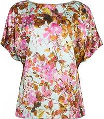 modern floral stretch-silk top