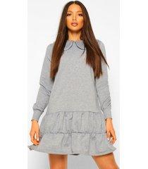tall sweatshirt jurk met kraag en lange mouwen, grey
