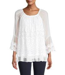 le marais women's lace-trim silk top - white - size m