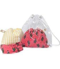 mochila conjunto infantil ania store cactos e listras feminina