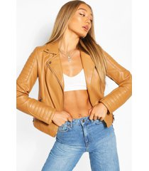 faux leather biker jacket, camel