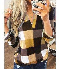 yoins blusa de manga larga con cuello de pico a cuadros amarillo