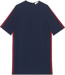gucci stretch viscose tunic dress with web - blue
