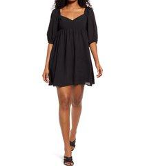 wayf ripton puff sleeve babydoll dress, size medium in black at nordstrom