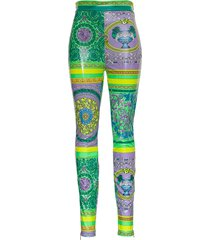 versace leggings with barocco patchwork print
