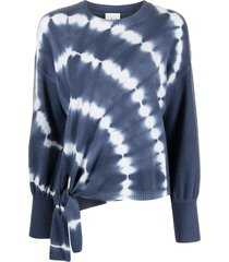 cinq a sept clerisa tie-dye knotted waist jumper - blue