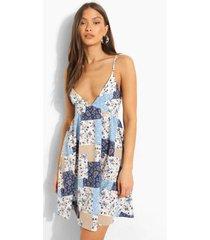 bloemenprint swing jurk met patches en rug bandjes, blue