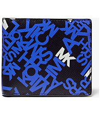 mk portafoglio a libro brooklyn in pelle a grana incrociata con logo - blck/pop blu - michael kors