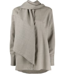 ports 1961 checked scarf-embellished shirt - neutrals
