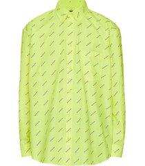 fluorescent yellow logo print shirt