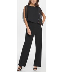dkny s/l jumpsuit with chiffon overlay