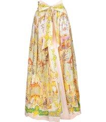 long wrap skirt with ornamental print