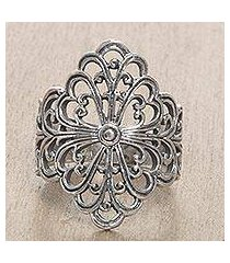 sterling silver cocktail ring, 'flower crown' (indonesia)