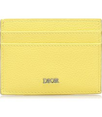 christian dior leather card holder yellow sz: