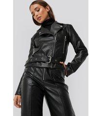 erica kvam x na-kd faux leather seam detail jacket - black