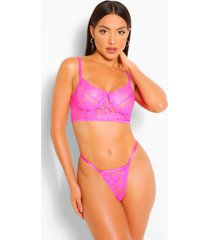 eyelash lace longline bralette and string set, bright pink
