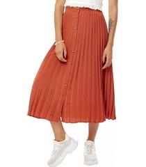 falda larga plizada botones mujer terracota corona