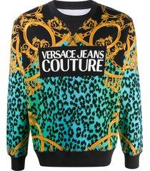 versace jeans couture leopard chain logo print sweatshirt - blue