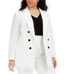 bar iii trendy plus size double-breasted windowpane blazer, created for macy's
