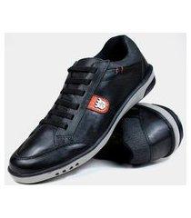 sapatênis casual em couro estilo pleno sp320 preto