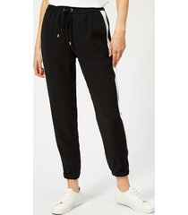 michael michael kors women's stripe track pants - black/white - s - black
