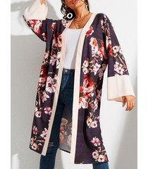 yoins cárdigan con frente abierto floral al azar multicolor