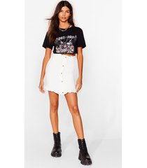 womens we're button to you shirred mini skirt - white
