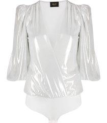 liu jo bell sleeve plunge bodysuit - silver