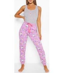 geribbeld unicorn hemd en pyjama broek set, grey