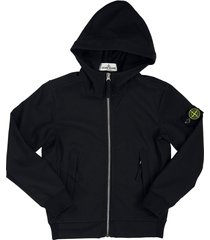 stone island hooded jacket black