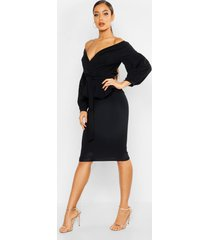 peplum midi wikkel jurk met open schouders, zwart
