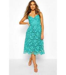 midi-jurk met kanten bandjes en gehaakt kant, blauwgroen