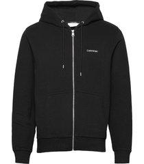 embroidery zip-through hoodie hoodie trui zwart calvin klein
