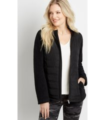maurices womens black quilted front sherpa sleeve hooded jacket