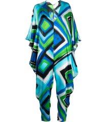 gianluca capannolo geometric print silk jumpsuit - blue