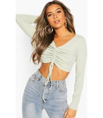 petite ruched front rib top, olive