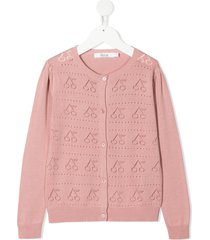bonpoint teen perforated cherry cardigan - pink