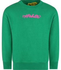 off-white green sweatshirt for girl with logo
