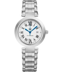 alexander watch a203b-01, ladies quartz date watch with stainless steel case on stainless steel bracelet