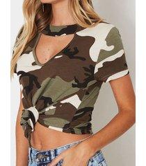 gargantilla de camuflaje verde militar cuello camiseta de manga corta