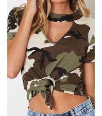 army green camo choker cuello camiseta de manga corta