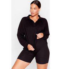 womens flyin' polo plus shirt and biker shorts set - black