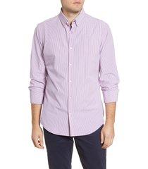men's mizzen + main leeward trim fit button-down performance shirt, size medium - red