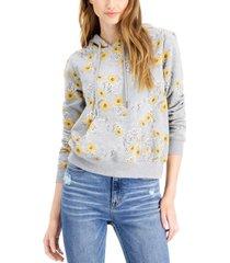 belle du jour juniors' sunflower-print hoodie sweatshirt