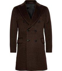 saul delux coat wollen jas lange jas bruin oscar jacobson